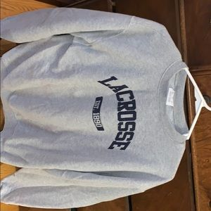 Get and navy blue lacrosse crewneck